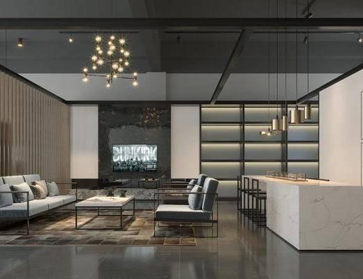 办公室, 现代办公室, 办公区, 沙发组合, 洽谈区, 休闲区