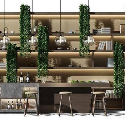 现代吧台装饰柜组合, 现代, 吧台, 装饰架, 吊兰, 植物, 吧台椅, 酒