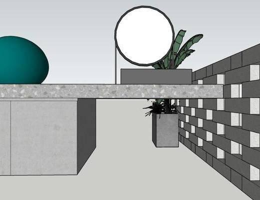 镜子, 洗手盆, 景墙, 植物