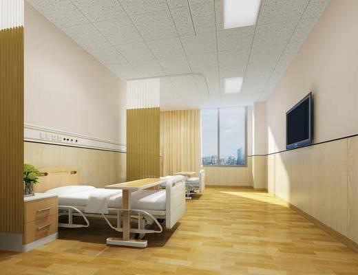 医院, 双人病房, 单人床, 床头柜, 现代