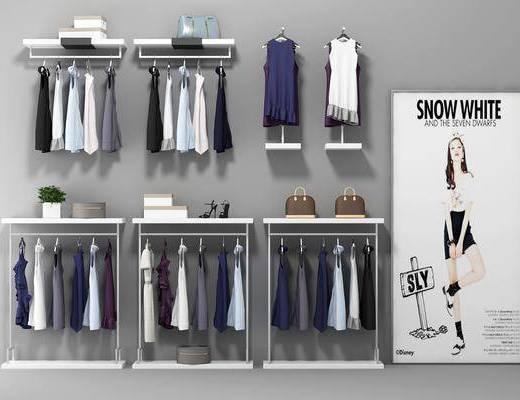服装展架, 衣架组合, 服饰, 现代