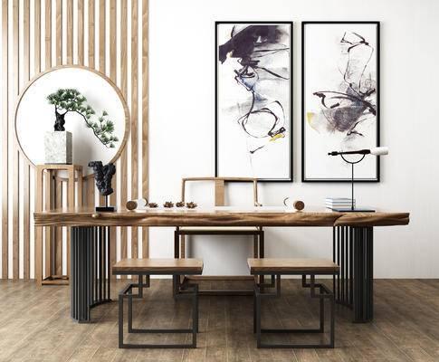 新中式书画桌, 茶桌, 铁艺书桌椅, 矮凳, 松柏盆栽, 毛笔架, 装饰画, 新中式书桌组合, 新中式