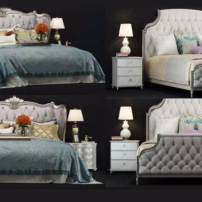 美式双人床, 床, 美式, 雕花床, 美式床, 床头柜, 台灯