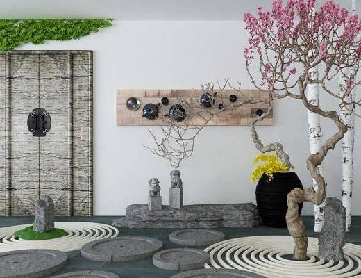 景观小品, 园艺小品, 树木, 墙饰, 植物, 新中式