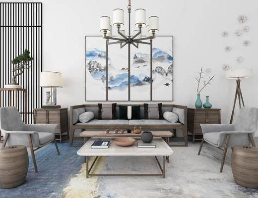 沙发组合, 沙发茶几组合, 挂画组合, 摆件组合, 装饰品组合, 新中式