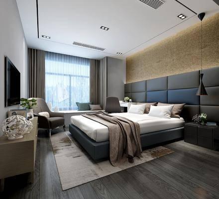 卧室, 极简卧室, 现代极简卧室, 床具组合, 摆件组合, 电视柜, 单椅