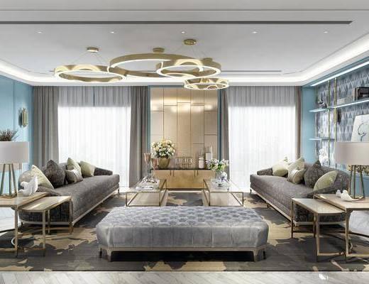 客厅, 沙发组合, 后现代客厅, 边几, 台灯, 摆件组合, 装饰柜, 花瓶花卉, 后现代