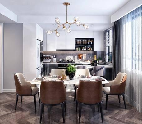 餐厅厨房, 餐桌, 餐椅, 单人椅, 餐具, 吊灯, 橱柜, 厨具, 北欧