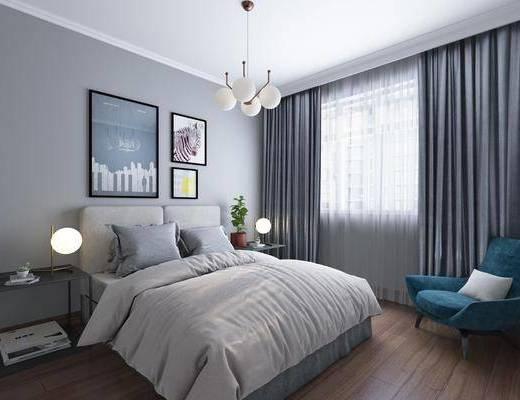 卧室, 现代, 现代卧室, 床具, 双人床, 床头柜, 台灯, 吊灯, 挂画, 单椅, 椅子, 休闲沙发
