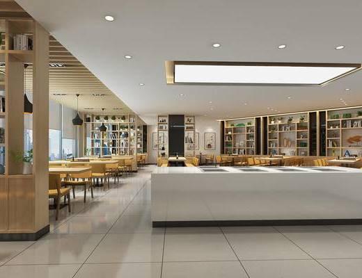 餐厅, 大厅, 灯具, 餐桌椅