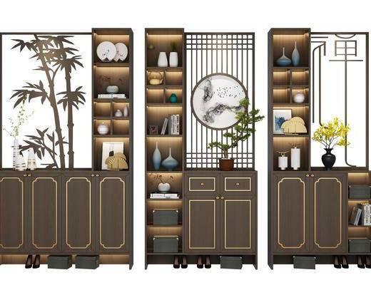 鞋柜, 新中式鞋柜, 鞋子, 摆件, 花瓶花卉, 植物, 盆栽, 新中式