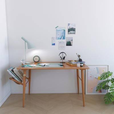 书桌, 盆栽, 绿植植物, 台灯, 书籍, 摆件, 装饰品, 陈设品, 北欧