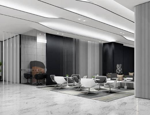 休闲区, 沙发, 茶几, 绿植, 椅子, 办公室, 会议室