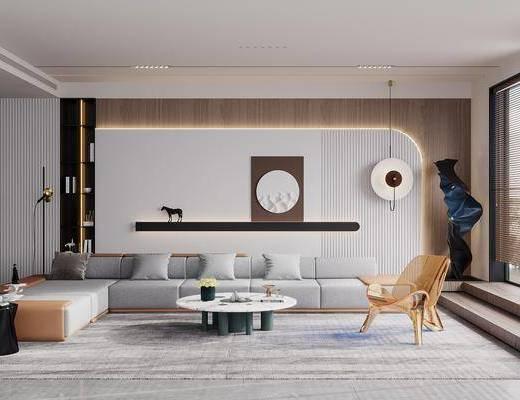 现代简约客厅, 多人沙发, 边几, 挂画, 休闲椅