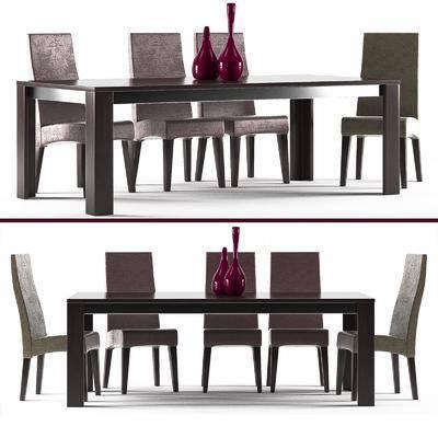现代, 桌椅组合, 桌子, 椅子, 餐桌, 餐椅, 花瓶, 摆件