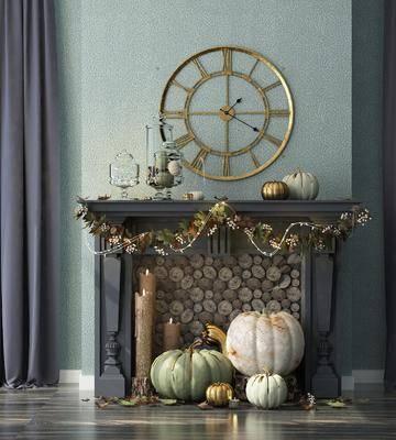 壁炉, 美式壁炉, 摆件, 南瓜, 装饰品, 万圣节, 圣诞节, 蜡烛, 墙饰, 美式
