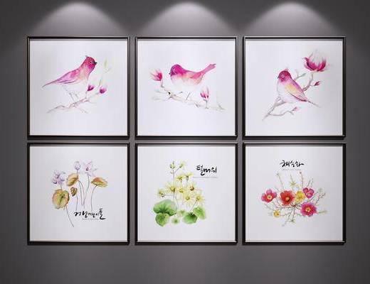 花鸟装饰画, 挂画, 三联画, 装饰画