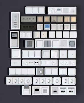 开关插座, 插座面板, 门禁网络, 插口电话, 现代