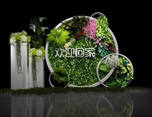 绿植小景, 盆栽, 绿植, 现代