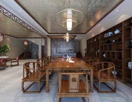 茶柜, 茶室, 酒庄, 茶椅, 单人椅, 装饰柜, 餐桌, 餐椅, 吊灯, 盆栽, 绿植植物, 摆件, 装饰品, 陈设品, 新中式