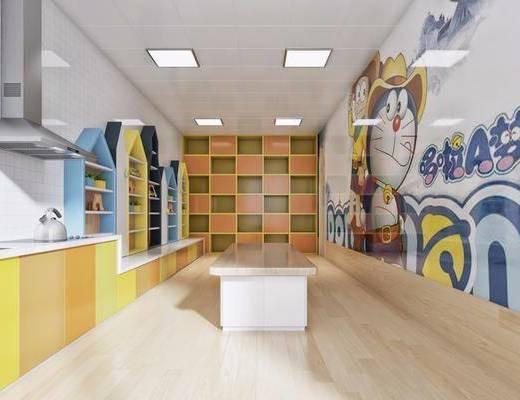 现代幼儿园, 现代烘焙室, 现代油烟机, 橱柜, 现代橱柜, 置物架, 桌子