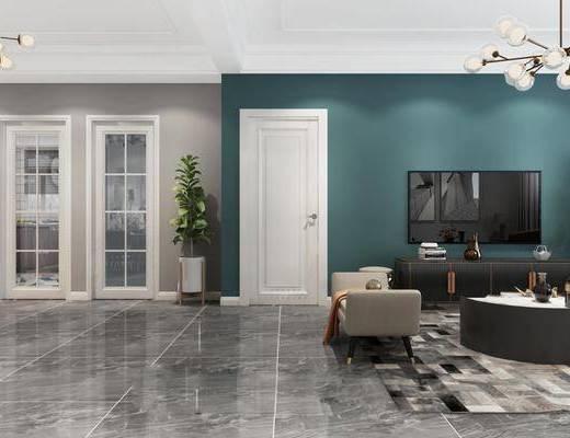 现代客厅, 客厅, 沙发组合