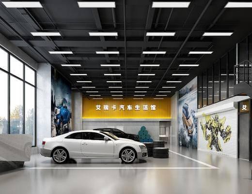 汽车4s店, 汽车生活馆, 汽车, 工业风汽车生活馆, 壁画
