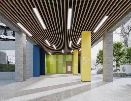 现代, 学校, 走廊, 过道, 楼梯