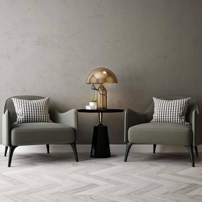 单人沙发, 茶几, 摆件组合