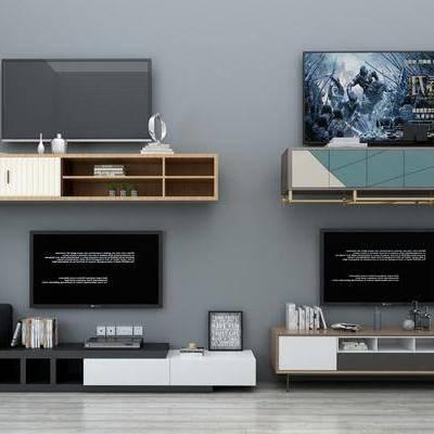 现代电视柜, 电视柜, 现代, 摆件, 电视, 书籍