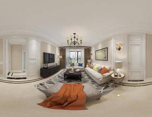 美式客厅, 客厅, 餐厅, 餐桌椅, 沙发组合
