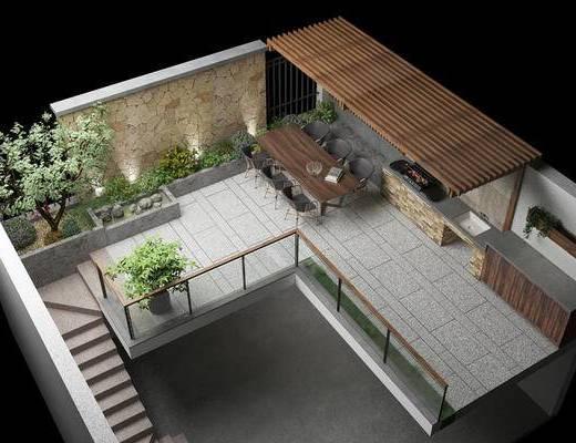 烧烤炉, 室外, 别墅院子, 入户花园, 真实玻璃材质, 户外餐椅