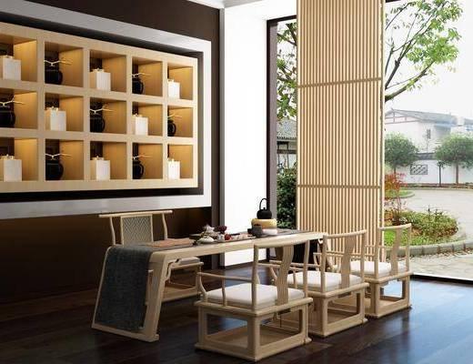 書房, 茶室, 茶桌, 單人椅, 裝飾柜, 擺件, 裝飾品, 陳設品, 新中式