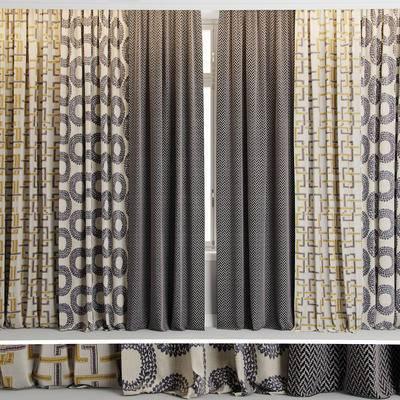 窗帘, 窗户, 现代布艺窗帘窗户组合, 现代, 布艺窗帘