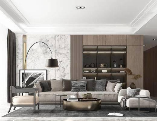 现代, 客厅, 多人沙发, 茶几, 贵妃椅, 单椅, 单人沙发, 落地灯, 边几, 摆画