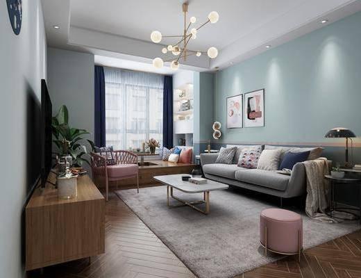 北歐客廳, 客廳, 沙發組合, 餐廳, 餐桌椅