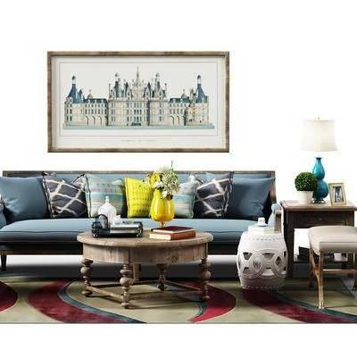多人沙发, 单人沙发, 沙发榻, 茶几, 边几, 装饰画, 台灯, 餐桌, 餐椅, 装饰品, 摆件, 美式