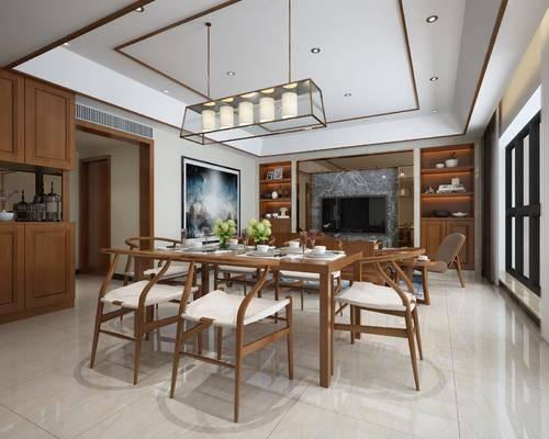 餐厅, 餐桌椅, 桌椅组合, 新中式, 电视柜, 休闲椅