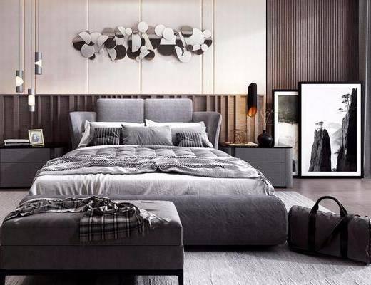 双人床, 床具组合, 墙饰, 床头柜, 吊灯, 装饰画