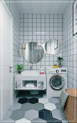 北欧, 卫生间, 洗衣机, 浴室柜