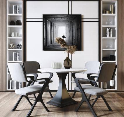 餐桌, 桌椅组合, 摆件组合, 书柜, 装饰画