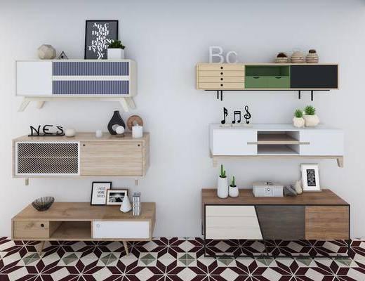 电视柜, 装饰柜, 边柜, 摆件组合, 装饰品, 陈设品, 现代