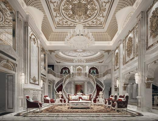 客厅, 欧式别墅客厅, 沙发组合, 雕花, 茶几, 楼梯