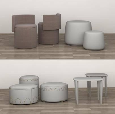 现代圆凳, 沙发凳, 边几组合
