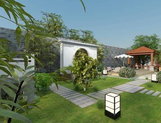 花园庭院, 草地, 绿植植物, 户外桌椅, 花卉, 树木, 中式