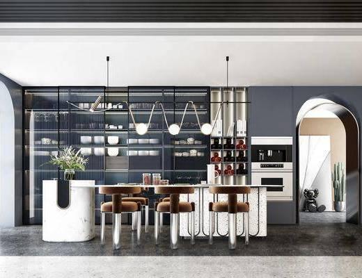餐廳, 吊燈, 桌椅組合, 盆栽植物, 酒柜, 電器