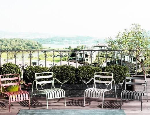 休闲椅组合, 户外休闲椅组合, 灌木, 绿植植物, 现代