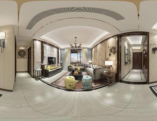 新中式客厅, 客厅, 沙发组合, 餐厅, 餐桌椅