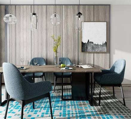 餐桌椅, 桌椅, 组合, 吊灯, 装饰画, 餐具