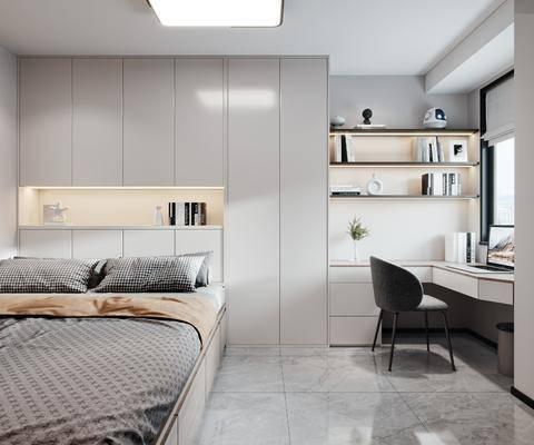 现代榻榻米卧室, 床, 书桌